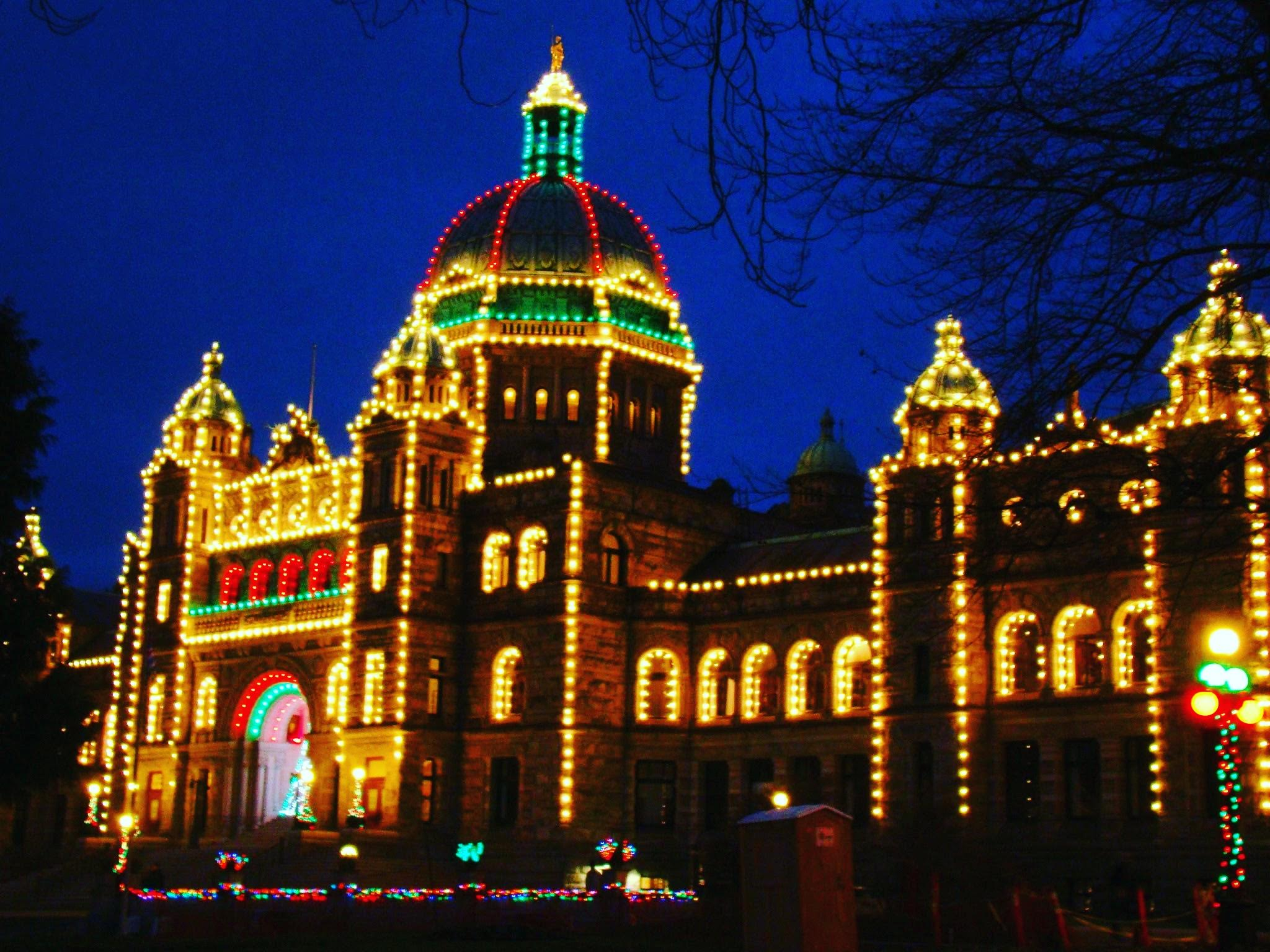 British Columbia Parliament Buildings beautifully lit up for Christmas