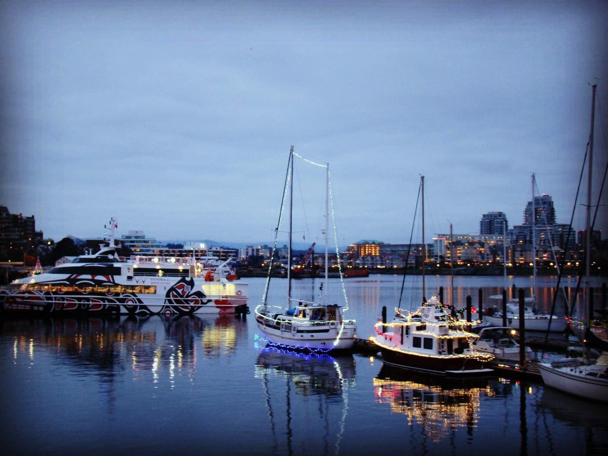 Twilight reflections in Victoria's Inner Harbour