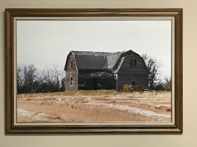 Portrait of a Romanian-Canadian homestead in a wheat field and on a cloudy day.